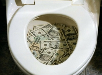 lottery money down the toilet