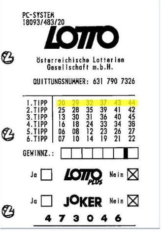 Austria lotto winning ticket
