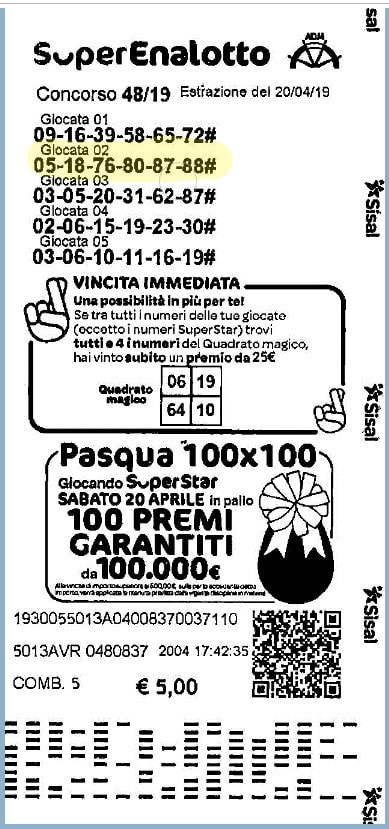 Austria lotto winner ticket