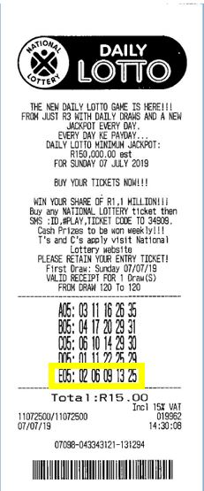South Africa Daily Lotto winner