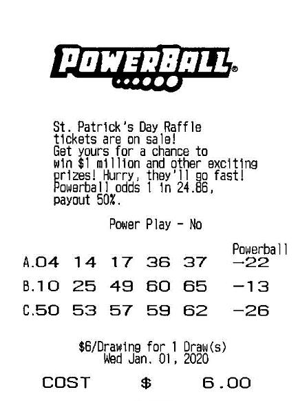 L.O.'s winning powerball ticket